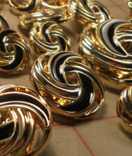 10 Large Buttons Gold and Black Swirl Plastic Shank Buttons Dynamic!
