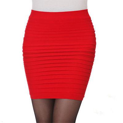 Sexy Women Mini Skirt Pleated Seamless Stretch Tight Business Pencil Dress XN