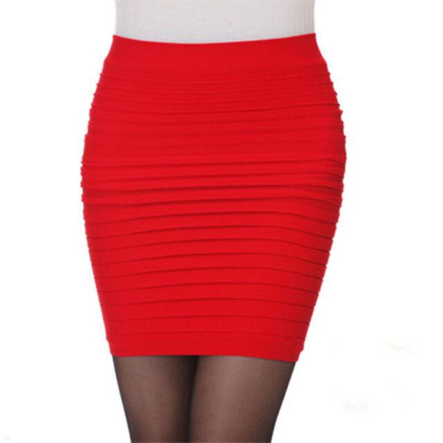 Sexy Women Mini Skirt Pleated Seamless Stretch Tight Business Pencil Dress Hot