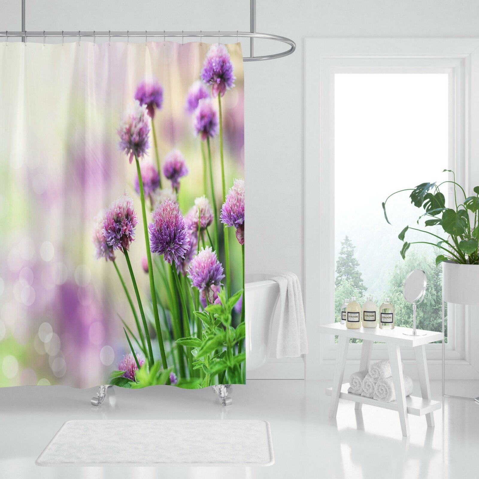 3D Lila Blaumen 7 Duschvorhang Wasserdicht Faser Bad Daheim Windows Windows Windows Toilette DE | Perfekt In Verarbeitung  9c8c91