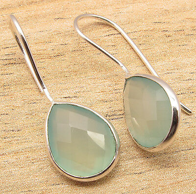 AQUA CHALCEDONY Pear Gemstones Cute New Drop Earrings 925 Silver Plated Jewelry