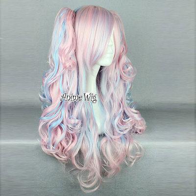 Anime Cosplay Wig Perücke Kostüm Party Haar rosa mixed blau gelockt mit Ponytail