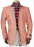 Mens Inserch Summer Spring Linen Sport Jacket Coat Papaya Peach Classic Fit