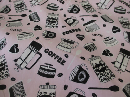 Pink /& Grey Coffee Cup Coffee Printed 100/% Cotton Fabric.