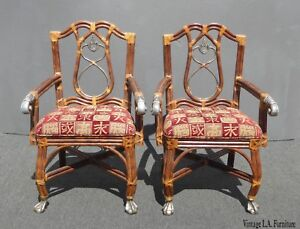 Pair-Vintage-Tommy-Bahama-Style-Red-Accent-Arm-Chairs-Ball-amp-Claw-Feet