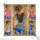 SEXY STRIPED TOP WITH BACK LACE. UK 8/10 EU 36/38.