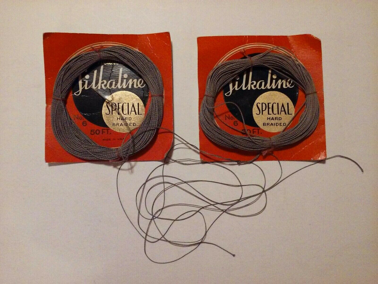 Lot Of 2 Vintage Silkaline Special Hard Braided No. 6 50 Ft. Fly Fishing