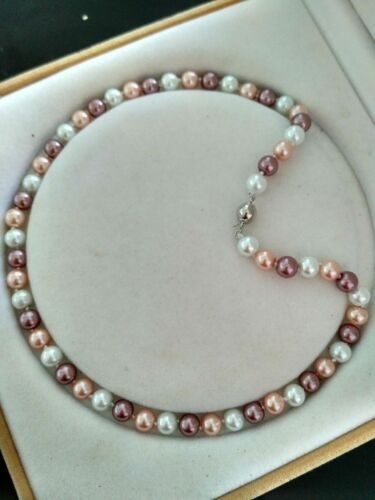 "Long 18/"" 25/"" 36/"" 50/"" 8mm Multicolor Akoya Shell Pearl Necklace+Earring Set"
