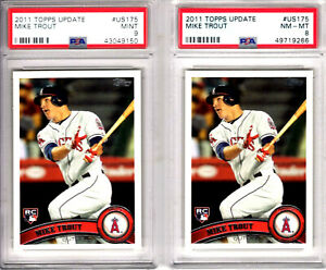 HUGE-2-2011-Topps-Update-Mike-Trout-PSA-9-amp-8-MINT-LOT-Rookie-RC-US175-Angels