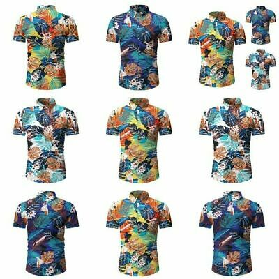 Short Sleeve Stylish Formal Blouse Slim Fit Luxury Business Floral Casual Mens