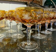 """Nachtmann Traube 5 1/4"""" Champagne/Tall Sherbet Amber Cut to Clear - 13 Avail."""