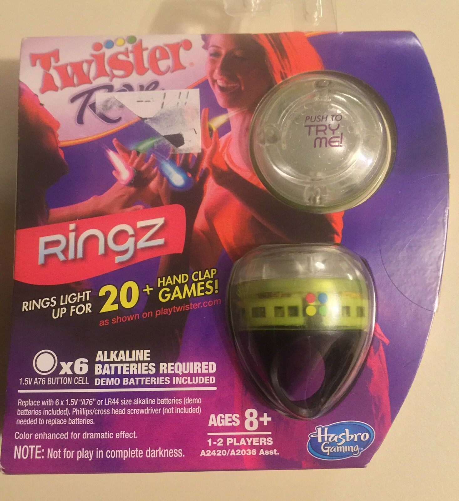Twister Rave Ringz, Hand Clap Games, Green, Ages 8+, 1-2 Player, Hasbro, Rings