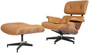 eames lounge chair reproduction light brown terracotta walnut real