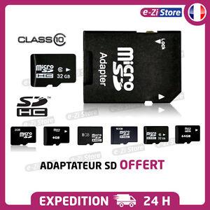 Carte-memoire-micro-SD-SDHC-2Go-4Go-8Go-16Go-32Go-64Go-classe-4-10-Adaptateur