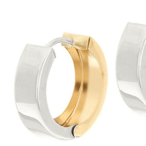 All Shiny Two-Tone Huggie Round Hoop Earrings Real 14K Yellow White Gold QVC