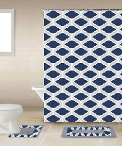 Scarlet Red /& White 18-Piece Bathroom Accessory Set 2 Bath Mats Shower Curtain