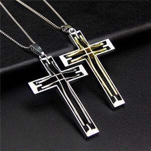 Men chain silver black gold stainless steel cross pendant byzantine image is loading men chain silver black gold stainless steel cross aloadofball Images
