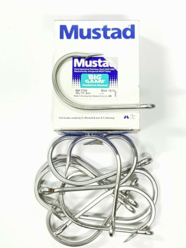 Mustad hooks 10 x 12//0 s//s 7732 style J hooks suit rigging skirted lures or RIGS