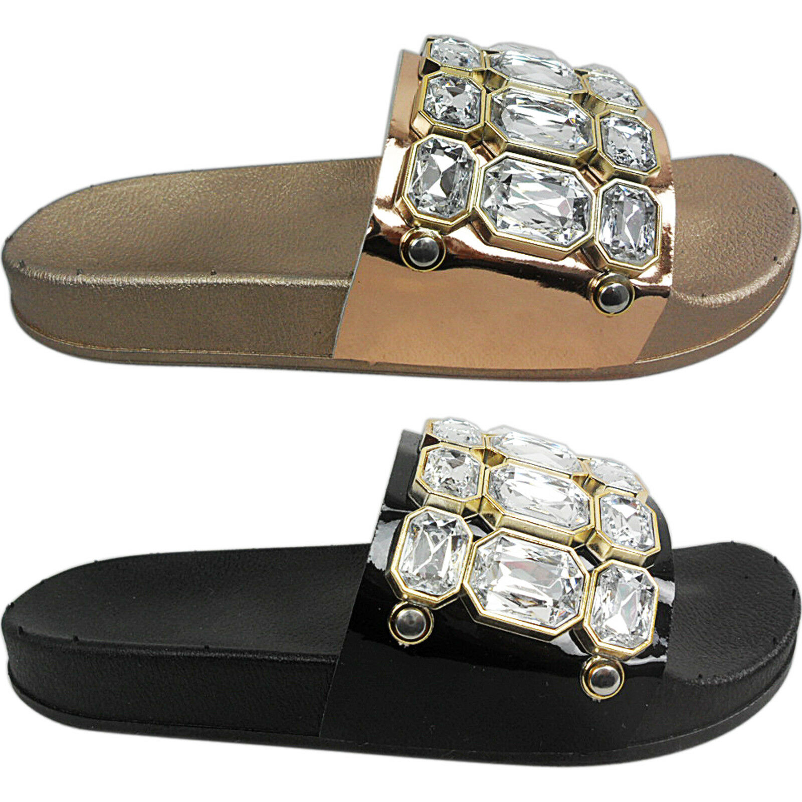 Gentleman/Lady NEW WOMENS LADIES RUBBER ONS DIAMANTE SLIDERS FLATS SLIP ONS RUBBER FLIP FLOP SANDALS SIZE Economical and practical low cost Outstanding function GN1549 dc7927