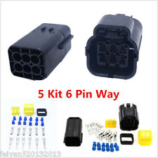 Autos 5 Kit 6 Pin Way Sealed Waterproof Electrical Wire Connector Plug Terminal