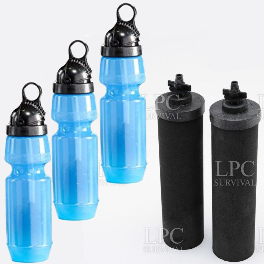 Lot de 2 Noir Berkey éléments & 3 Sport Berkey bouteilles d'eau avec Filtres
