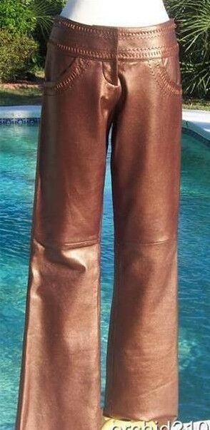 Cache Copper Metallic Butter Leather Pant Sz 2 4 6 XS S Lined Self Belt  258 NWT