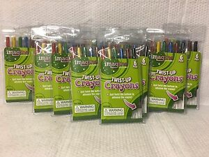 LOT OF 12 PACKS OF TWIST UP CRAYONS 6 COLORS PER PACK - SCHOOL SUPPLIES COLORING