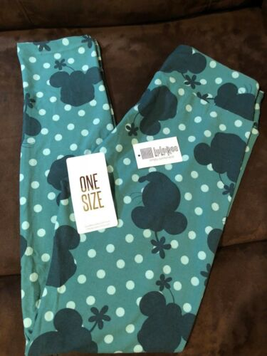 LuLaRoe One Size OS Leggings Disney Minnie Mouse Polka Dots Green Light Green