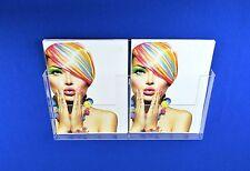 Double A4 Menu / Leaflet Holder / Brochure Dispenser - Wall Mountable - Acrylic