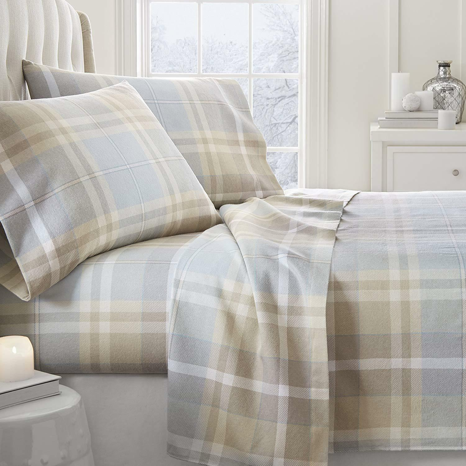 FLANNEL PLAID PREMIUM SUPER SOFT BED SHEETS SHEET SET 4 PIECE QUEEN OR KING Größe