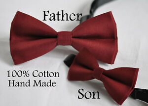 Father Son Match 100/% Handmade Solid RED Velvet Bow Tie Bowtie Wedding Party