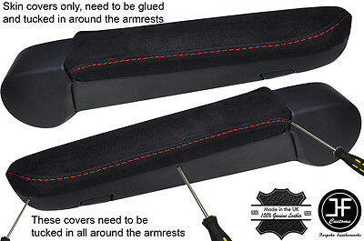 RED STITCHING 2X REAL SUEDE ARMREST COVERS FITS VW T5 TRANSPORTER CARAVELLE