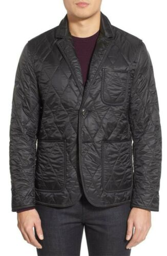 BURBERRY BRIT Mens Quilted With Leather Trim Coat