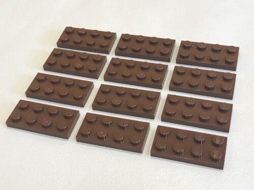 C014 LEGO plaque plane 2x4 P//N 3020 x 12 brun rougeâtre NEUF