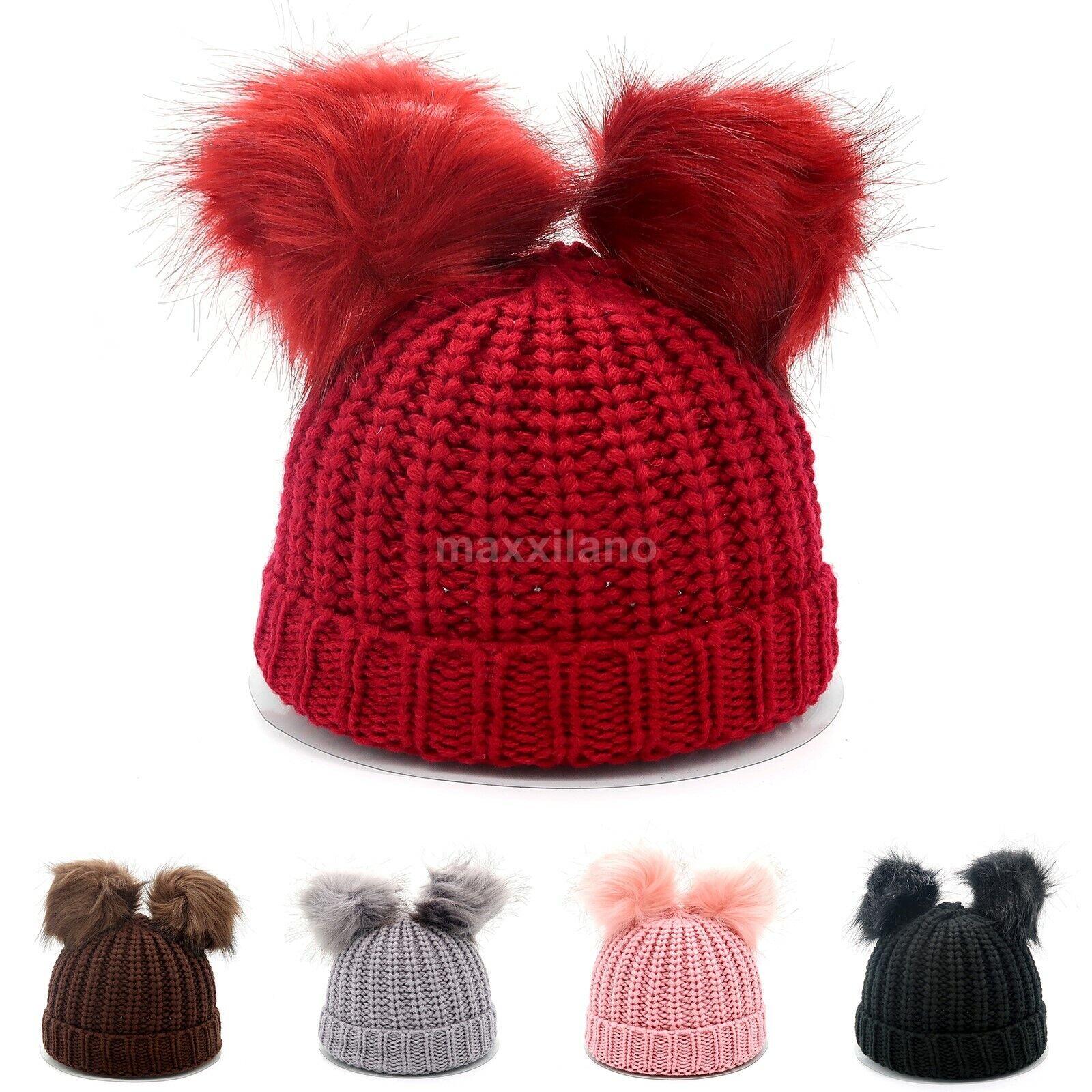 Red knit warm double fur pom poms beanie