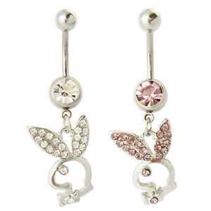 Brillant Un Piercing Playboy Nombril De 1.6 Mm 14 Gauge Lapin Strass Blanc Ou Rose