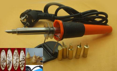 AC 220V 30W WOOD BURNING PRO SOLDERING IRON GUN TOOL SET PYROGRAPHY KIT 5 TIPS