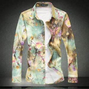 Mens-Button-Front-Slim-Floral-Club-Casual-Shirts-Long-Sleeve-Tops-Plus-Sz-6XL-U1