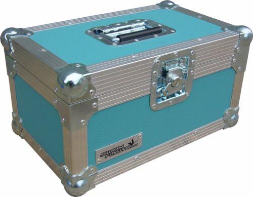 "Turquoise Rigid PVC 7/"" Single 200 Swan Flight Case Vinyl Record Box"