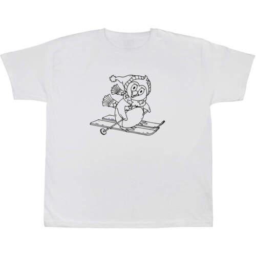 Kid/'s Cotton T-Shirts /'Skiing Penguin/' Children/'s TS012642