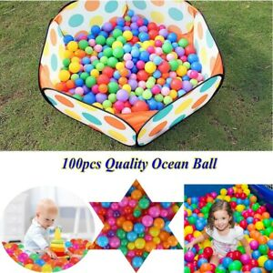 100pc Toddler Babies Soft Play Balls Colorful Squish Plastic Beans Kids Fun Game