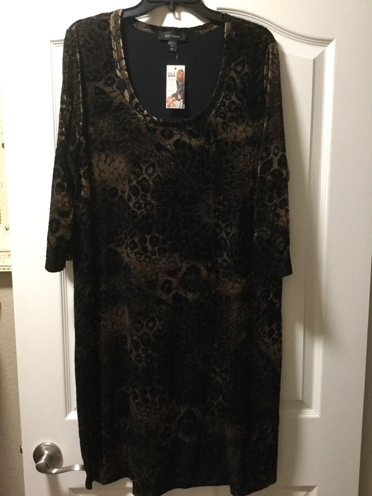 NEW Karen Kane Plus Size 2X Leopard gold Dust Burnout Sheath Dress, Retail  154