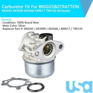 New Carburetor For BRIGGS /& STRATTON 694202 693909 692648 499617 790120 Carb US