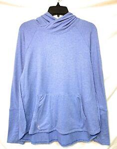 Women's Polo Ralph Lauren RLX Microfiber Fleece Workout Hoodie, Blue, Size M