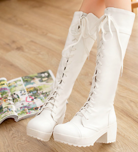 Women's Round Toe Gladiator Block High Heels Platform Shoes Lace-up Calf Boots