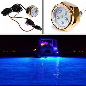 Blue Led Underwater Boat Fishing Light 1800 Lumens Drain