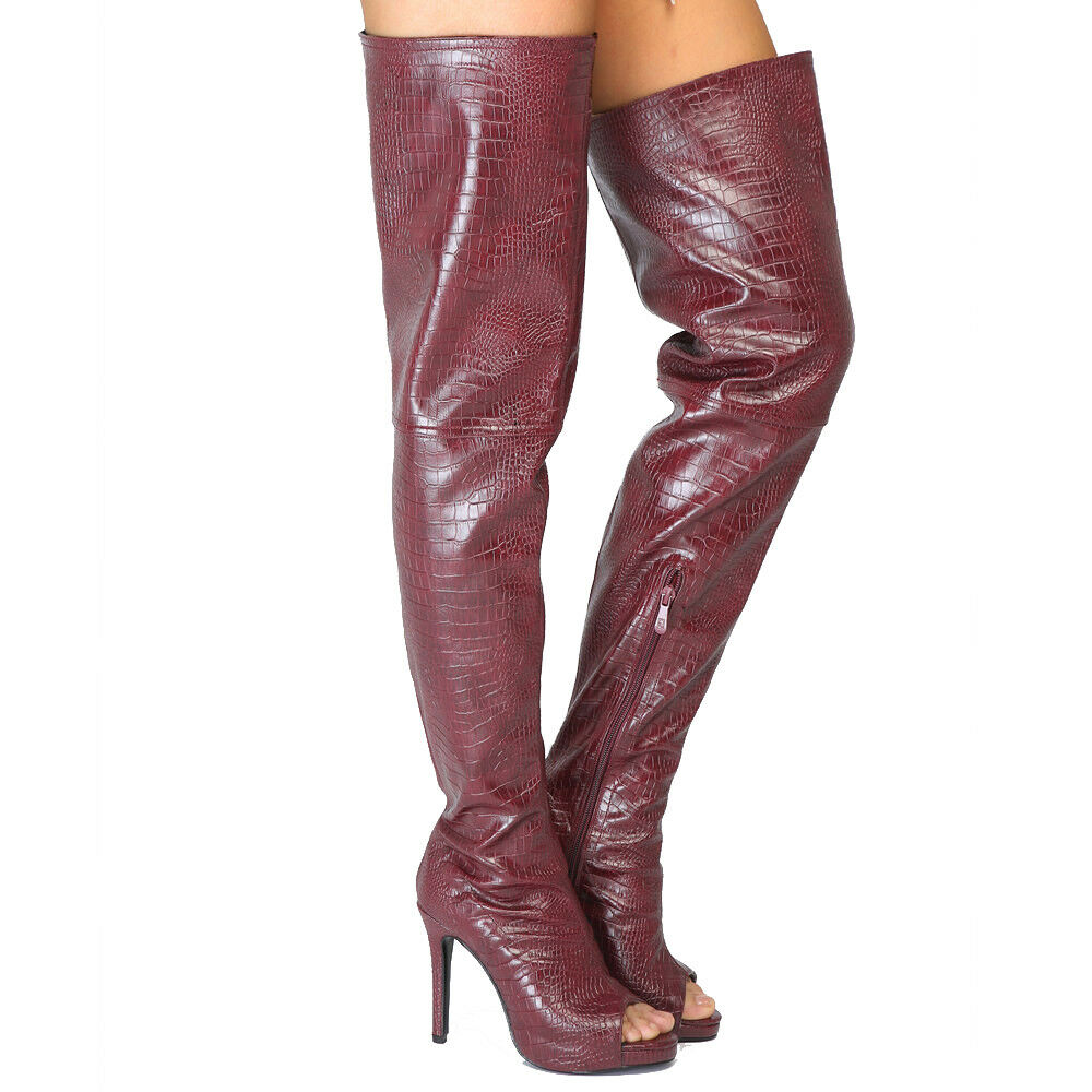 FASHION Women Over-the-Knee Boots Thigh High Heels Boots Wine Red shoes Women