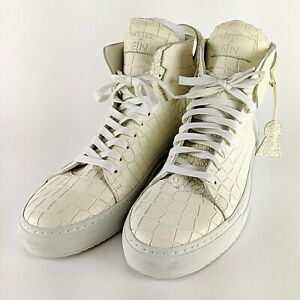 BUSCEMI-x-En-Noir-Bone-White-125mm-Crocodile-Embossed-Avant-Garde-Size-45-US-12