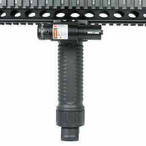 """Tactical Foldable Foregrip Bipod w/ Red Laser Sight + 2"""" KeyMod Rail Section"""