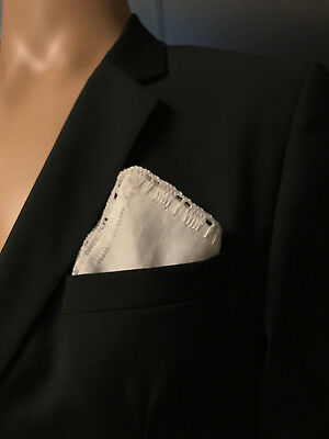 New A.S.W.O.L Men Handmade 100/% Cotton Solid Pocket Square With Border//Edge USA